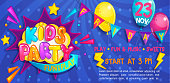 Wide cute kids party Banner in cartoon style with balloons, flags and boom frame.Birthday party, Place for fun and play, kids game room. Poster for children's playroom decoration.Vector illustration.