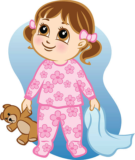 A wide eyed young cartoon girl that's ready for bed vector art illustration