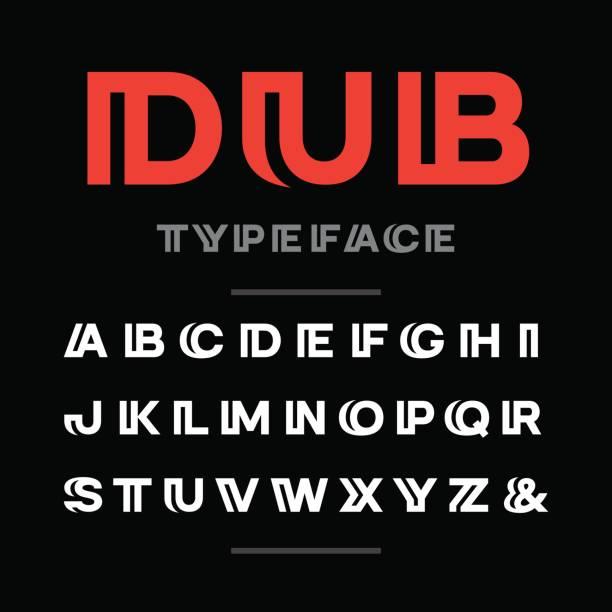 große schriftart. vektor-alphabet mit lateinischen buchstaben und zahlen. - breit stock-grafiken, -clipart, -cartoons und -symbole