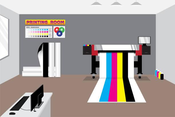 stockillustraties, clipart, cartoons en iconen met wide format-printer in grijze kamer met spullen - breed