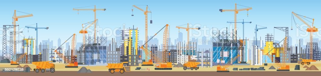 Breiten Kopf Banner der Stadt Skyline Bauprozess. Turmdrehkrane auf Baustelle. Gebäude im Bau. – Vektorgrafik