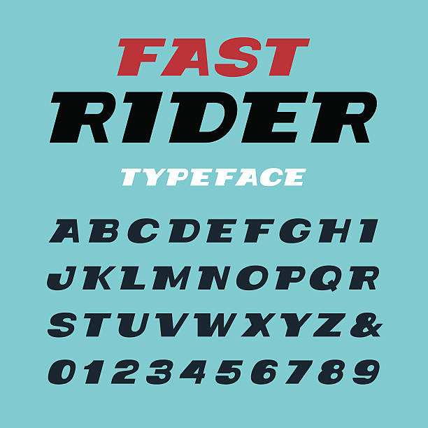 wide italic font. vector alphabet with latin letters and numbers - 畫畫 動態活動 幅插畫檔、美工圖案、卡通及圖標
