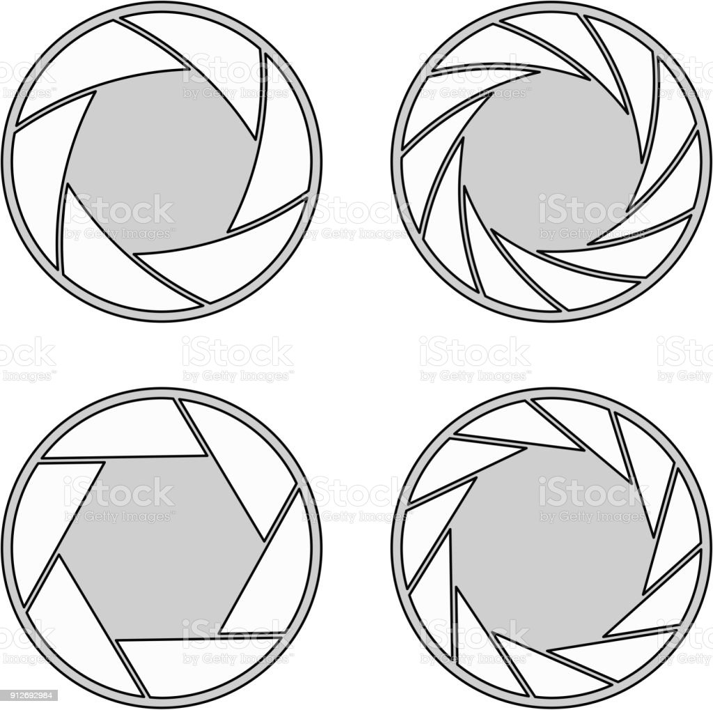 wide open aperture with 6/11 blades and different styles vector art illustration