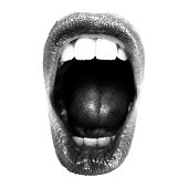Wide open Halftone Female Mouth. Front view. Vector Isolated Object