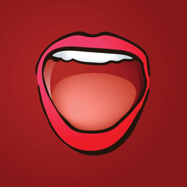 illustrazioni stock, clip art, cartoni animati e icone di tendenza di wide open laughing female mouth illustratoin - smile woman open mouth