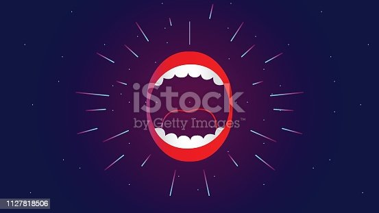 Mouth Open, Illustration, Vector, Human Face, Human Lips