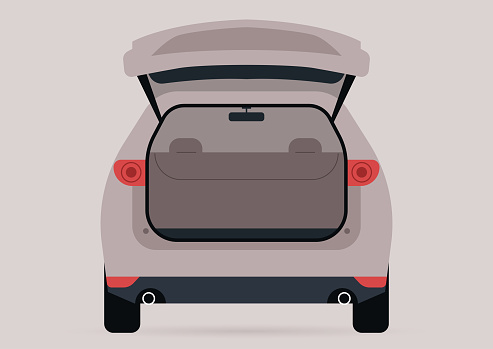 A wide open trunk of an empty SUV car, no people template
