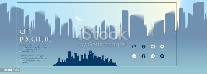istock Wide panjrama minimal city traveling tourist information. Brochure, flyer, cover, poster or guidebook template. Vector modern illustration. 916582874