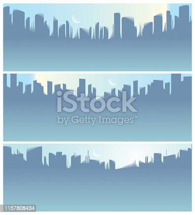 istock Wide panorama city skyscrapers silhouettes skyline vector illustrations set. Perfect minimal backgrounds with copy space for text. 1157808434
