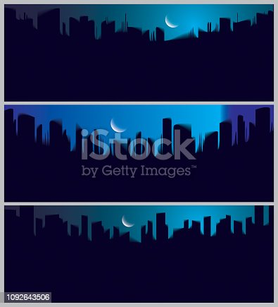 istock Wide panorama night city skyscrapers silhouettes skyline vector illustrations set. Perfect minimal backgrounds with copy space for text. 1092643506
