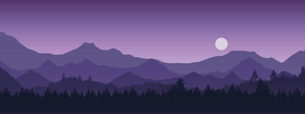 Wide realistic illustration of mountain landscape with forest and trees. Purple night sky with moon or sun - vector vector art illustration