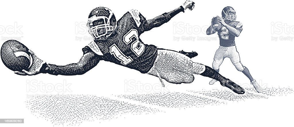 Wide Receiver Making Diving Catch vector art illustration
