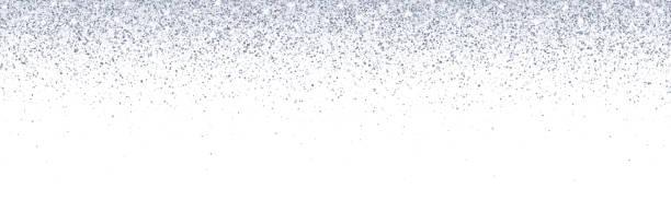 wide silver falling glitter on white background. vector - блёстки stock illustrations