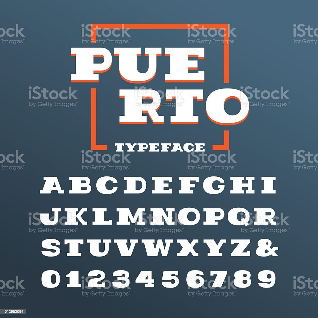 Wide slab serif font. Vector alphabet with letters and numbers vector art illustration