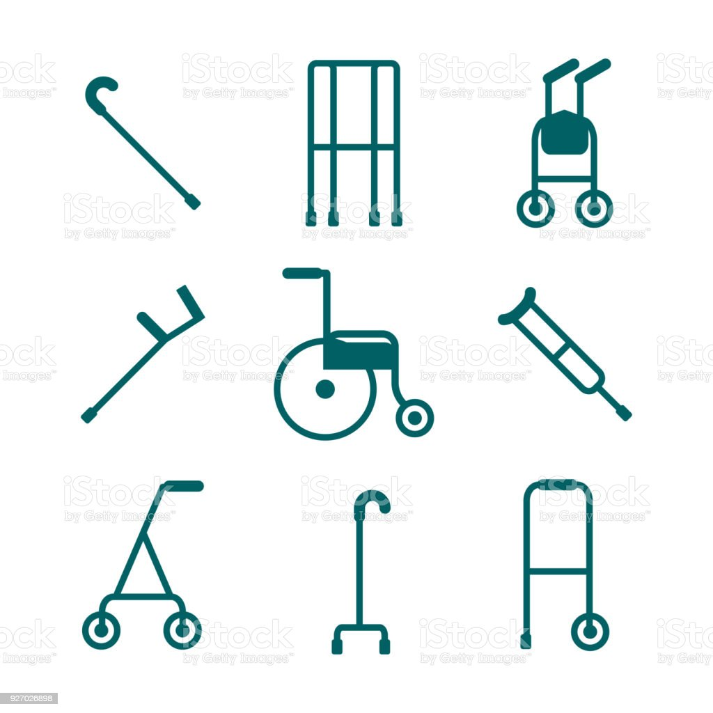 Wide variety of walkers for patients to use to assist them with their mobility vector art illustration