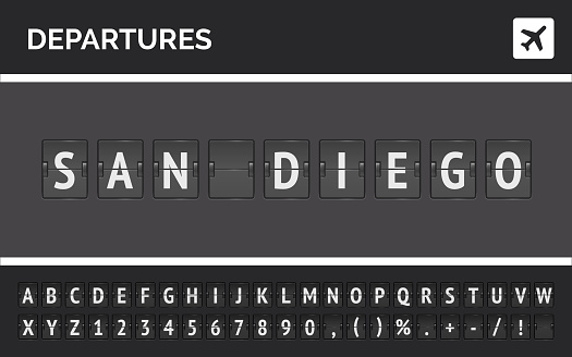 Wide vector banner with airport flip font showing departure to San Diego in USA