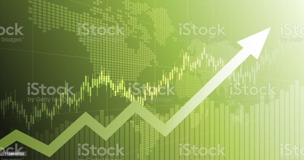 widescreen abstract financial chart with uptrend line arrow graph and world map on green color background - Royalty-free Abstract stock vector