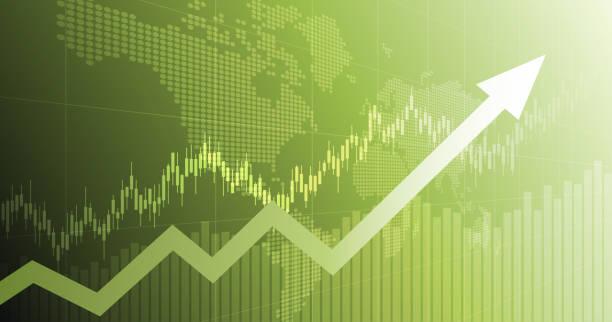 ilustrações, clipart, desenhos animados e ícones de gráfico financeiro abstrato panorâmico com gráfico da seta da linha de tendência e mapa de mundo no fundo verde da cor - economia