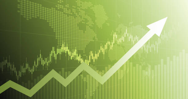widescreen abstract financial chart with uptrend line arrow graph and world map on green color background - dane giełdowe stock illustrations