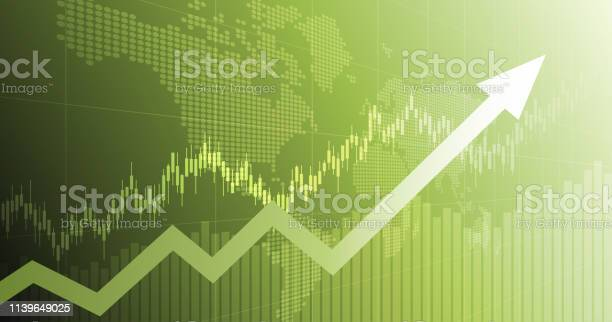 Widescreen Abstract Financial Chart With Uptrend Line Arrow Graph And World Map On Green Color Background Stock Illustration - Download Image Now