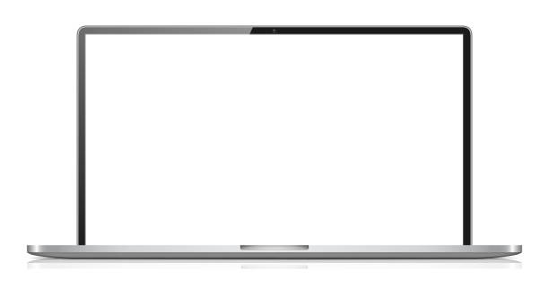 modernen widescreen-notebook, isolated on white background - breit stock-grafiken, -clipart, -cartoons und -symbole