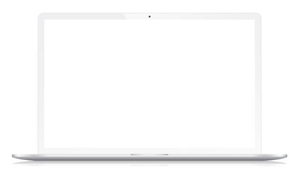 bildbanksillustrationer, clip art samt tecknat material och ikoner med widescreen modern notebook på vit - laptop