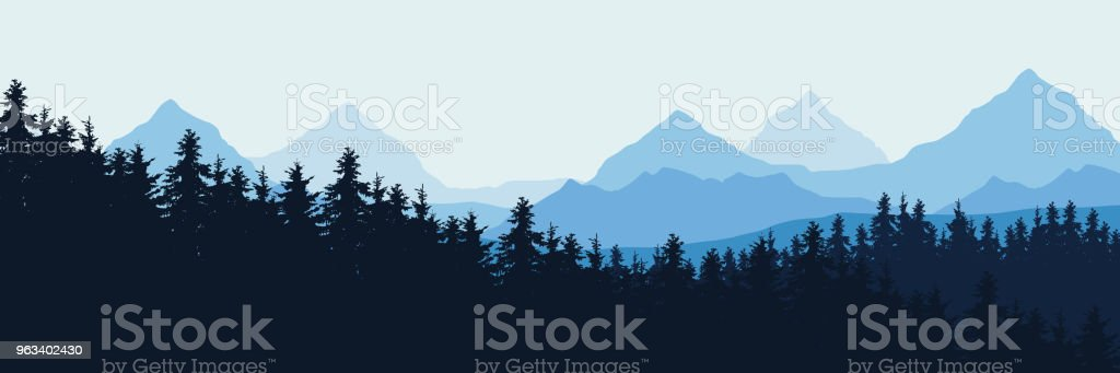 Widescreen Vector realistic illustration of mountain landscape with forest, under blue sky with clouds - Grafika wektorowa royalty-free (Abstrakcja)