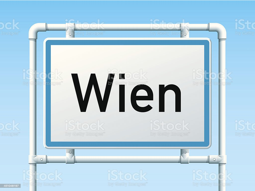 Wien Austria City Road Sign royalty-free stock vector art