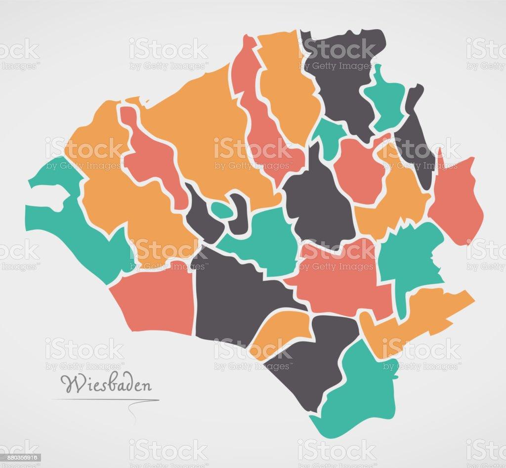 Wiesbaden Karte.Wiesbaden Karte Mit Stadtbezirken Und Moderne Runde Formen Stock