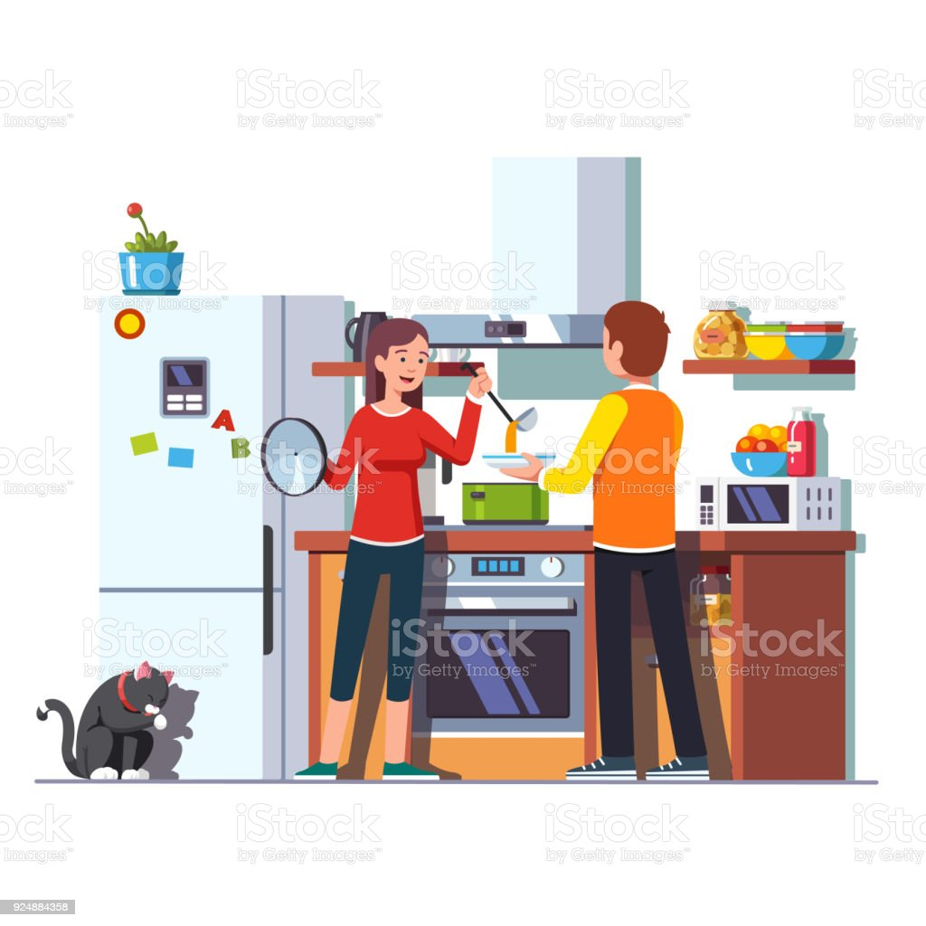 Wife pouring soup with ladle into bowl for husband vector art illustration