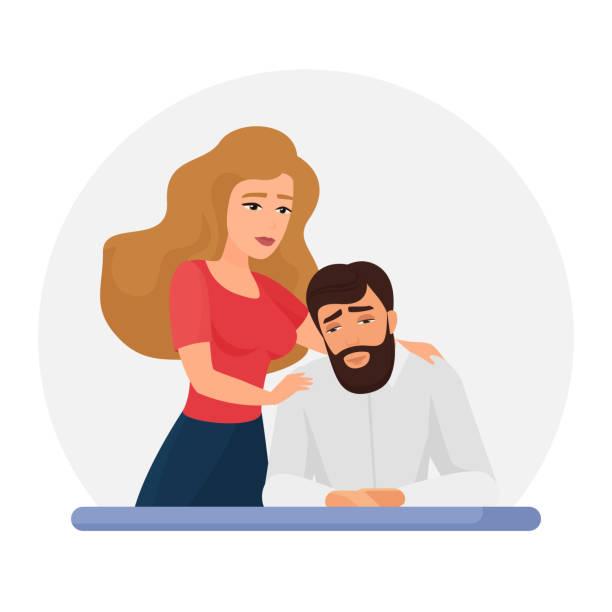Wife supporting depressed husband flat vector illustration vector art illustration