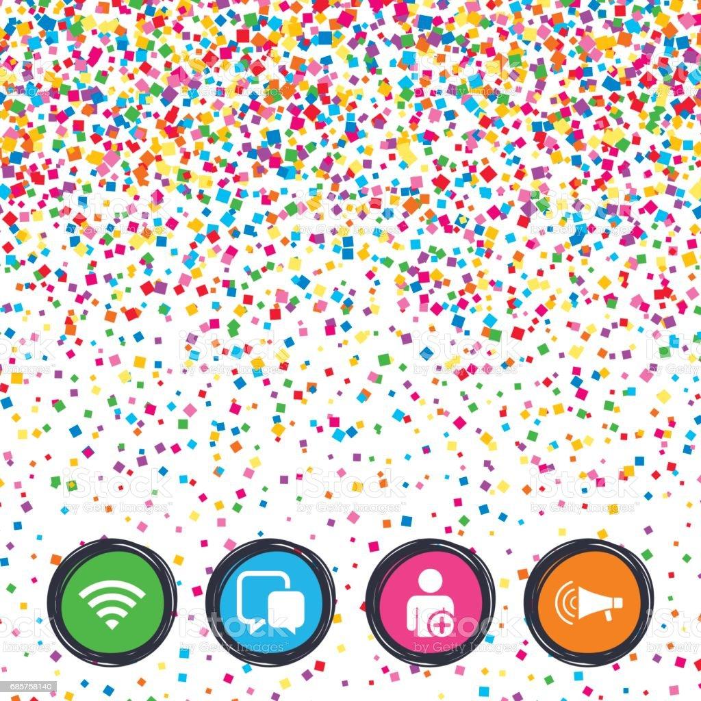 WiFi en chat bubbels. Gebruiker toevoegen, megafoon. royalty free wifi en chat bubbels gebruiker toevoegen megafoon stockvectorkunst en meer beelden van achtergrond - thema