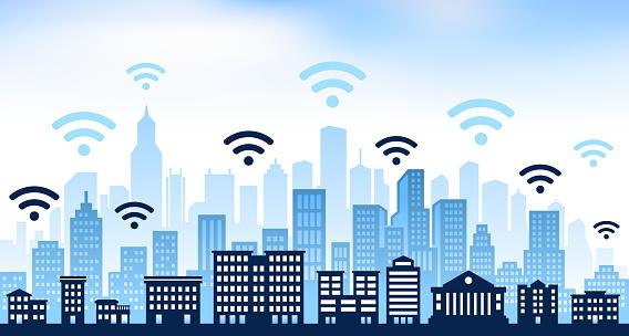 Wi-Fi and panoramic city skyline Background