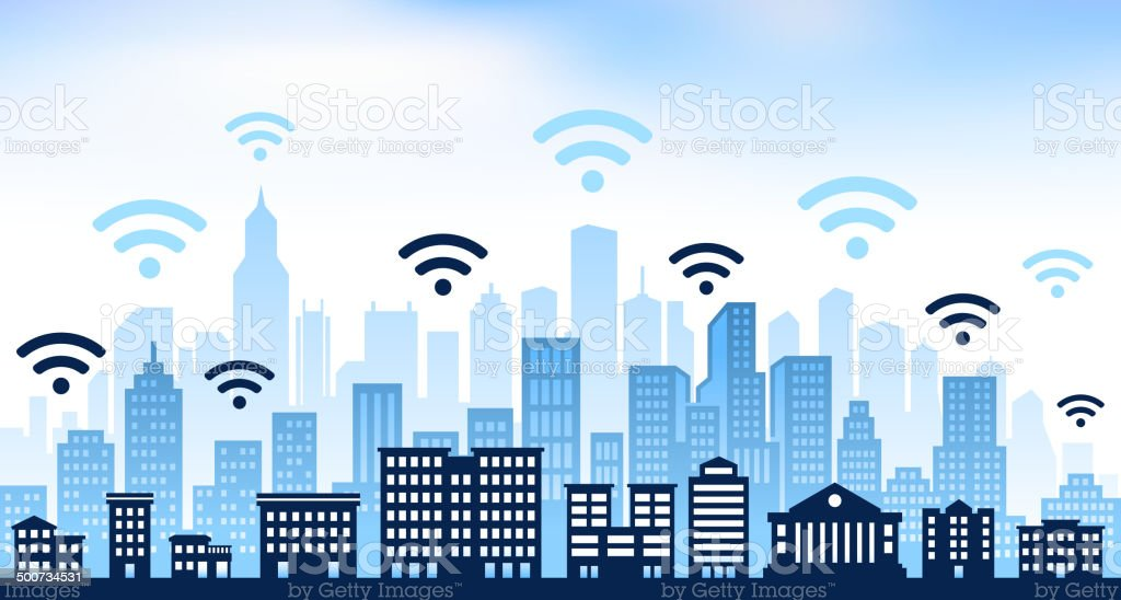 Wi-Fi and panoramic city skyline Background vector art illustration