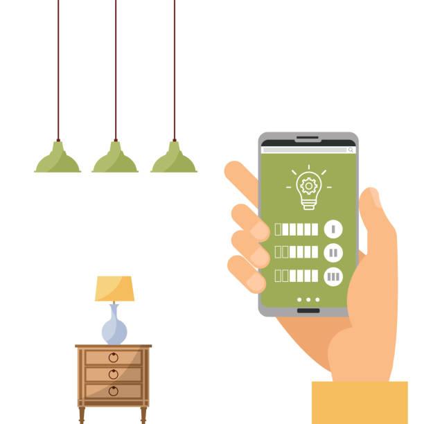 bildbanksillustrationer, clip art samt tecknat material och ikoner med wi-fi-appen på telefon som används för att styra smart lampa i smarta hemsystem. handhållande smartphone, ändra färgljus. fjärrlampa lampa. telefonanslutning med trådlös lampa. vektor platt illustration. - changing bulb led