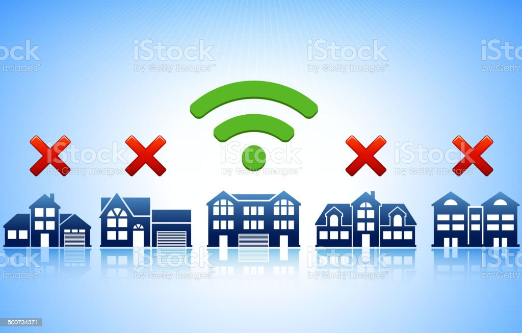 Wi-Fi Building Hotspot vector art illustration