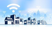 Wi-Fi Buildings on panoramic city skyline Backgrounds