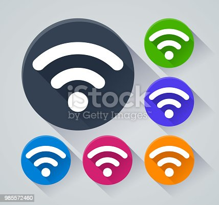 Illustration of wifi circle icons with shadow
