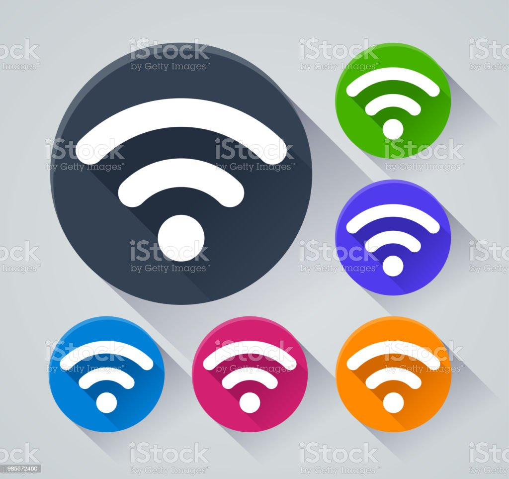 wifi circle icons with shadow vector art illustration