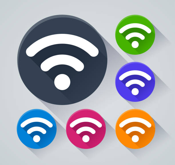 wifi circle icons with shadow - wireless technology stock illustrations, clip art, cartoons, & icons