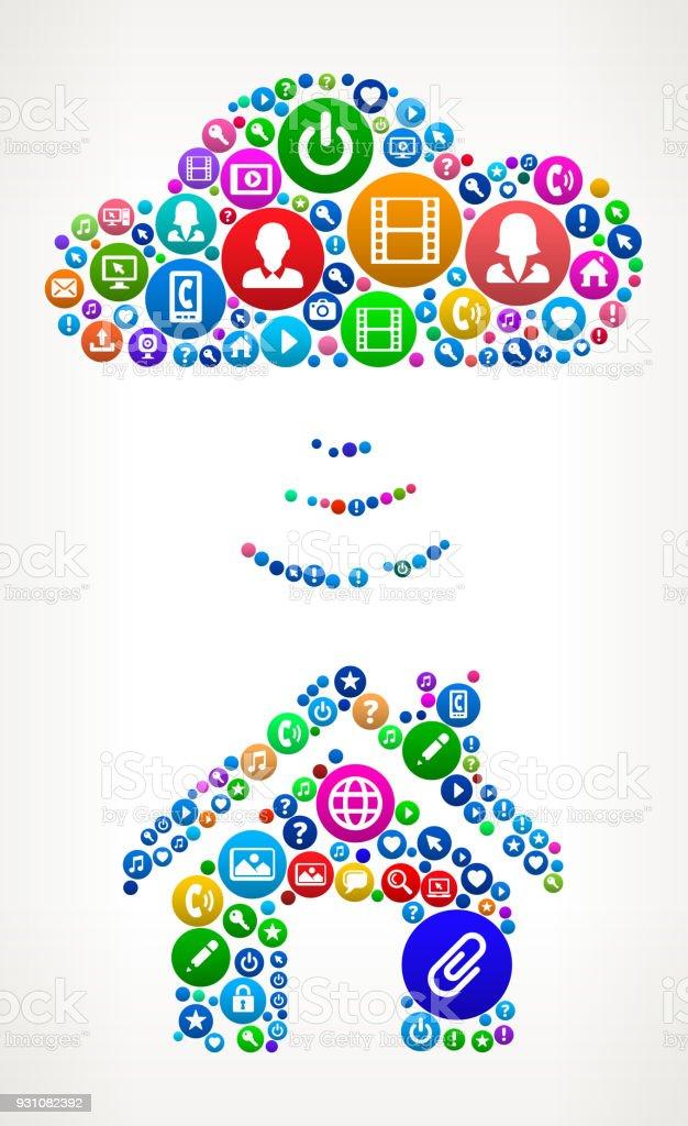 Wi-Fi House Internet Communication Technology Icon Pattern vector art illustration