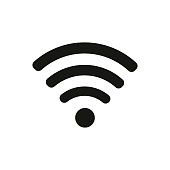 Wifi icon in  flat style, black color white  background