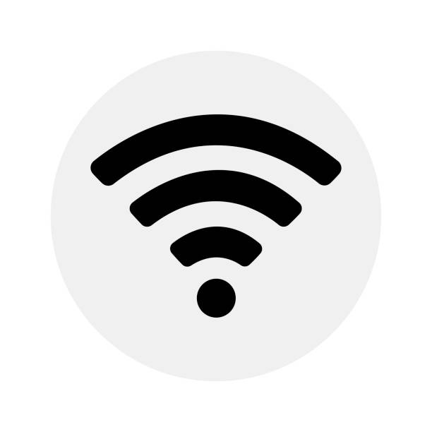 Wifi icon on grey background Wifi icon on grey background bluetooth stock illustrations