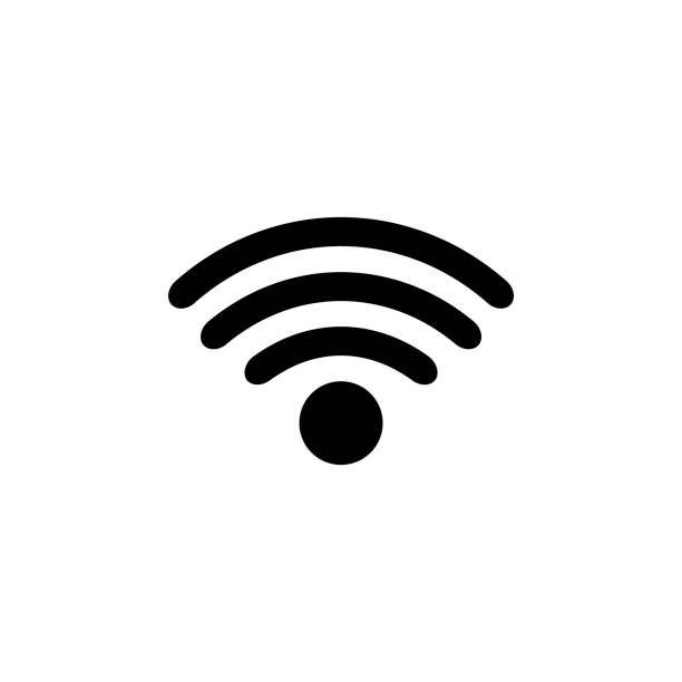 wi-fi icon on white background vector illustration - wireless technology stock illustrations, clip art, cartoons, & icons