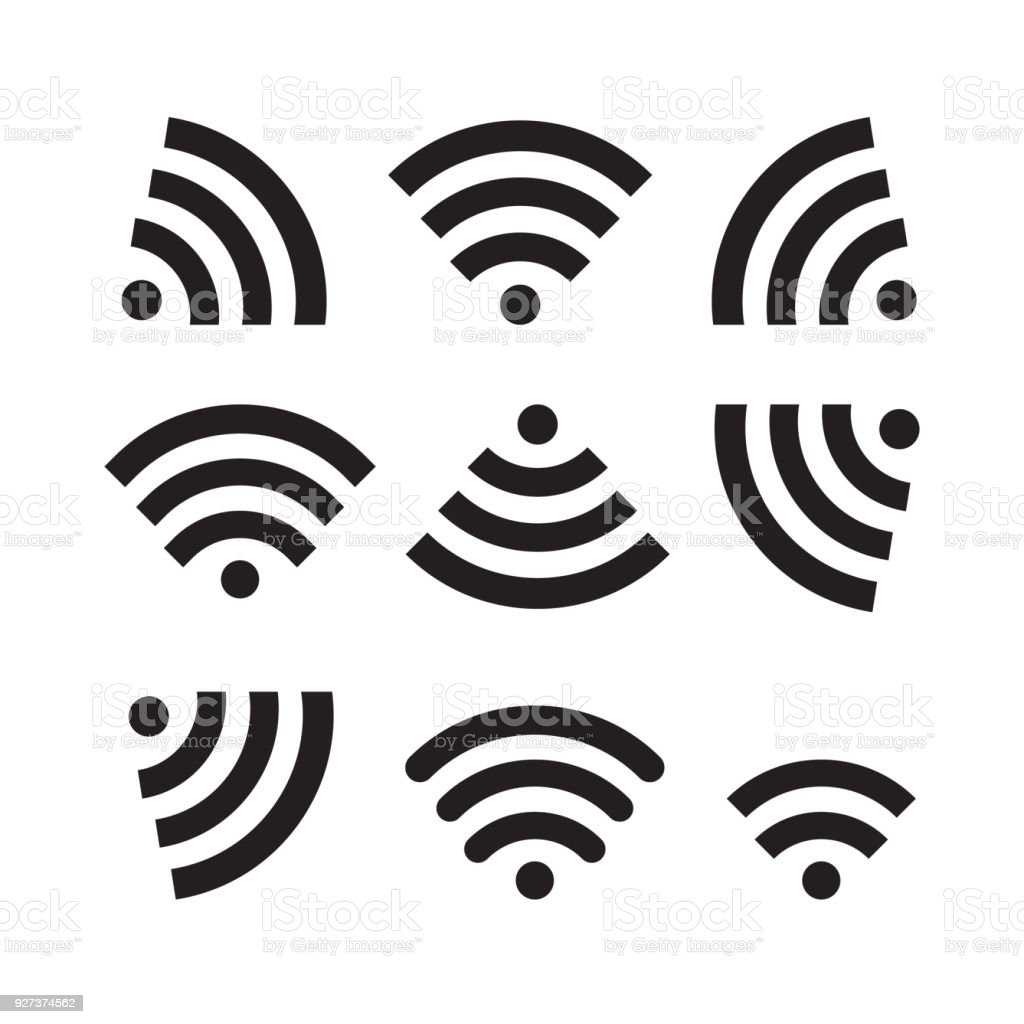 Wifi icon set vector illustration. Free royalty images. Wi-Fi is a way of connecting to a computer network using radio waves instead of wires. Business stock vector