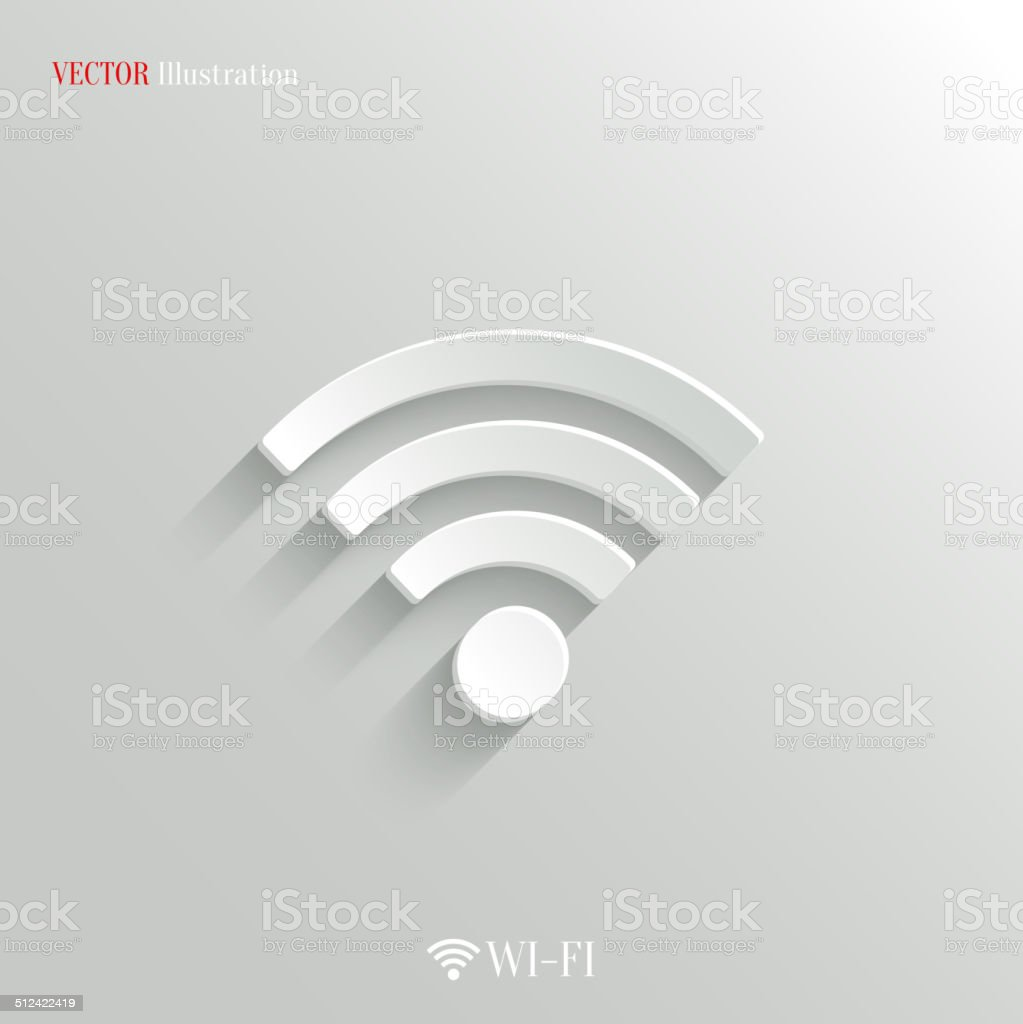 Wi-fi icon - vector white app button vector art illustration