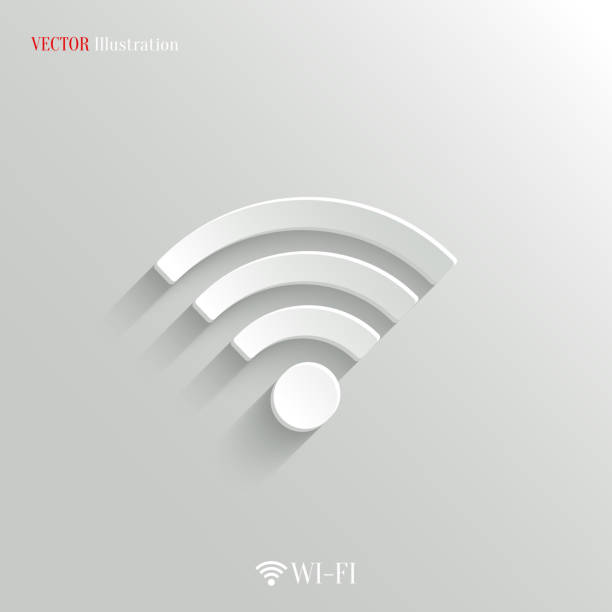 wi-fi icon - vector white app button - wireless technology stock illustrations, clip art, cartoons, & icons