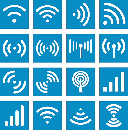 Radio waves sign. Global colour used
