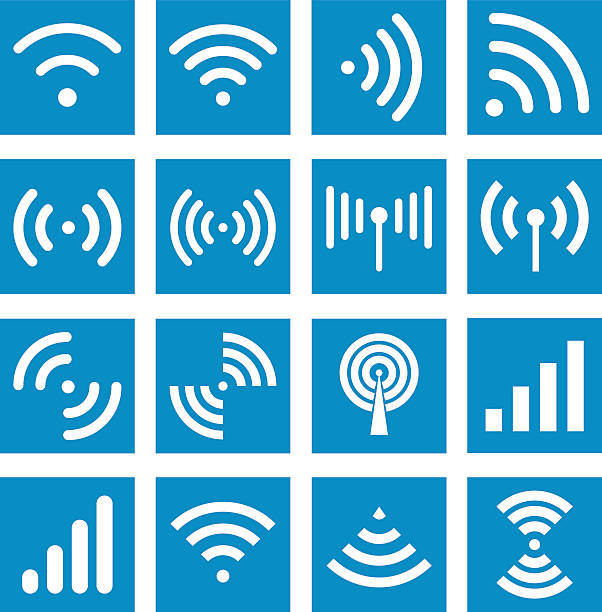 Wifi icons - Illustration Radio waves sign. Global colour used broadcasting stock illustrations