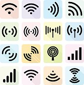Radio waves sign with flat design. Global colour used